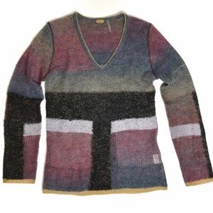 Wool blend Metallic Trimmed Color block Sweater SP